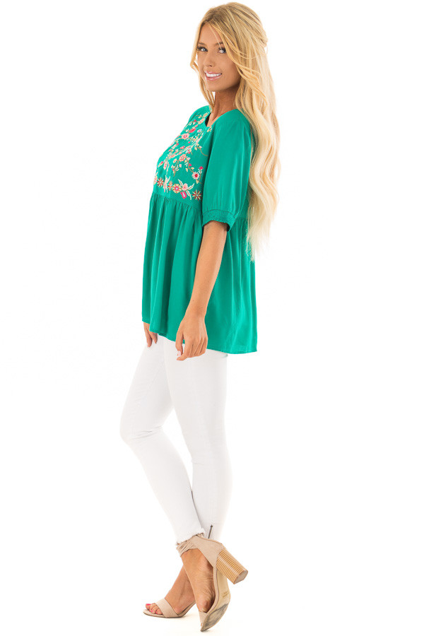 Jade Short Sleeve Floral Embroidered Top with Keyhole Detail side full body