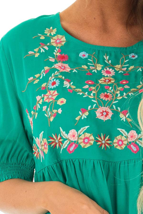 Jade Short Sleeve Floral Embroidered Top with Keyhole Detail front detail