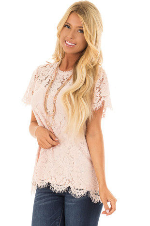 Blush Short Sleeve Lace Top With Scalloped Hem front closeup