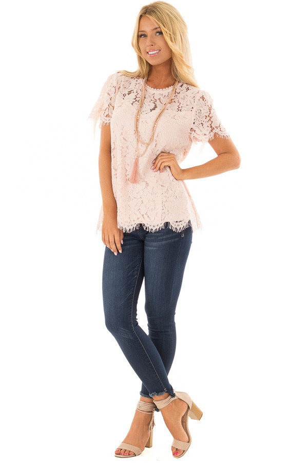 Blush Short Sleeve Lace Top With Scalloped Hem front full body