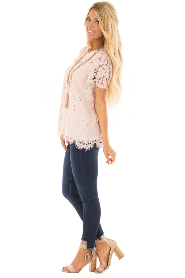 Blush Short Sleeve Lace Top With Scalloped Hem side full body