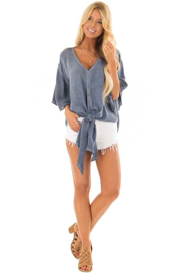 Denim Blue Mineral Wash Short Sleeve Top with Front Tie front full body
