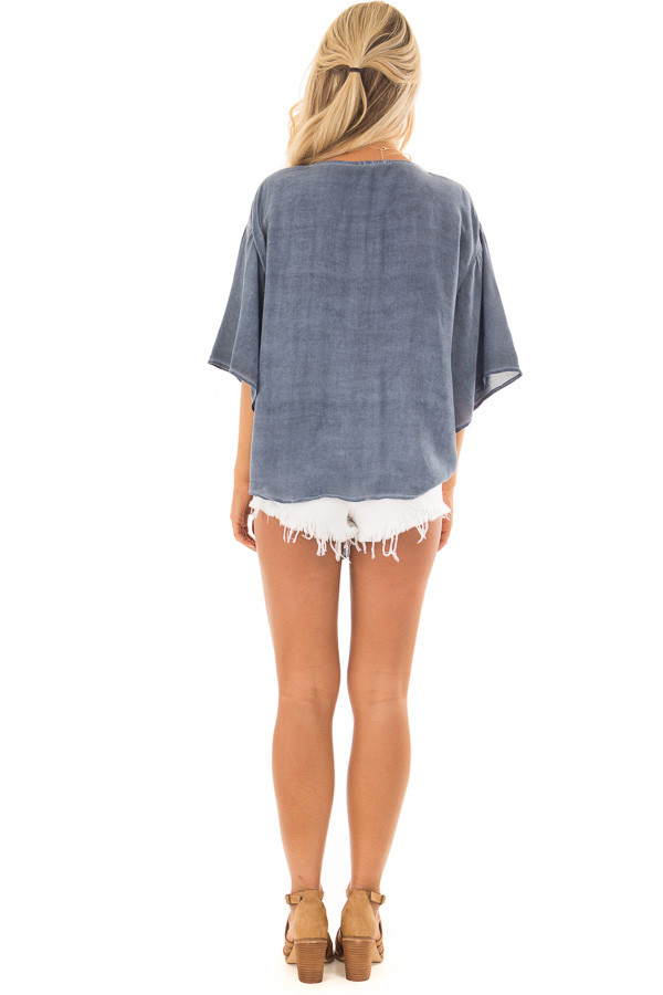 Denim Blue Mineral Wash Short Sleeve Top with Front Tie back full body