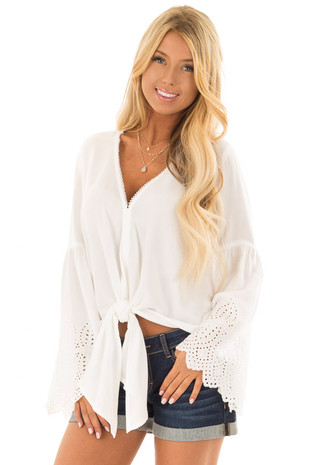 White Long Sleeve Blouse with Sheer Crochet Details front closeup