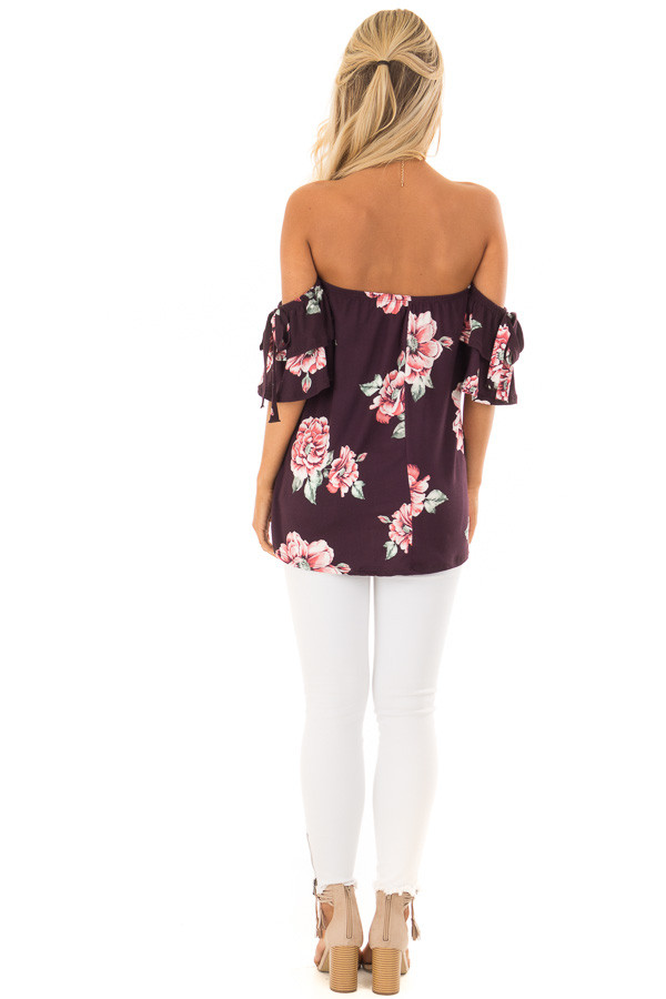 Plum Floral Soft Knit Off Shoulder Top with Bell Sleeves back full body