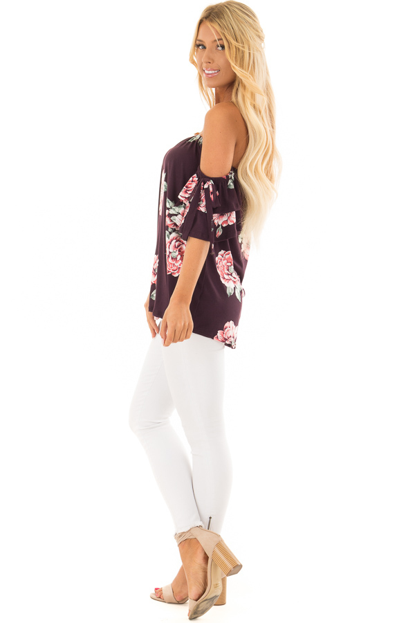 Plum Floral Soft Knit Off Shoulder Top with Bell Sleeves side full body