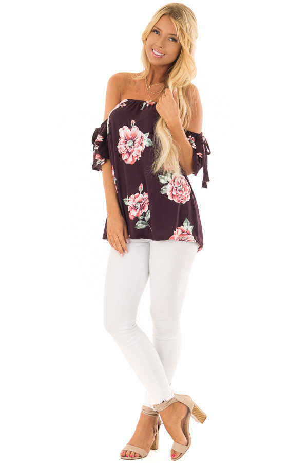 Plum Floral Soft Knit Off Shoulder Top with Bell Sleeves front full body