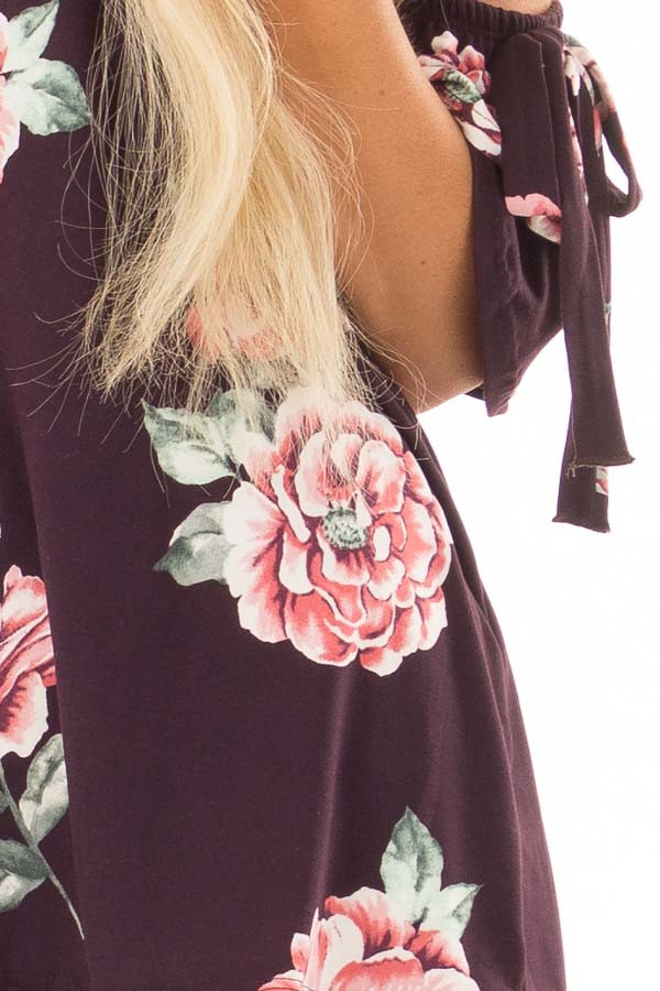 Plum Floral Soft Knit Off Shoulder Top with Bell Sleeves front detail