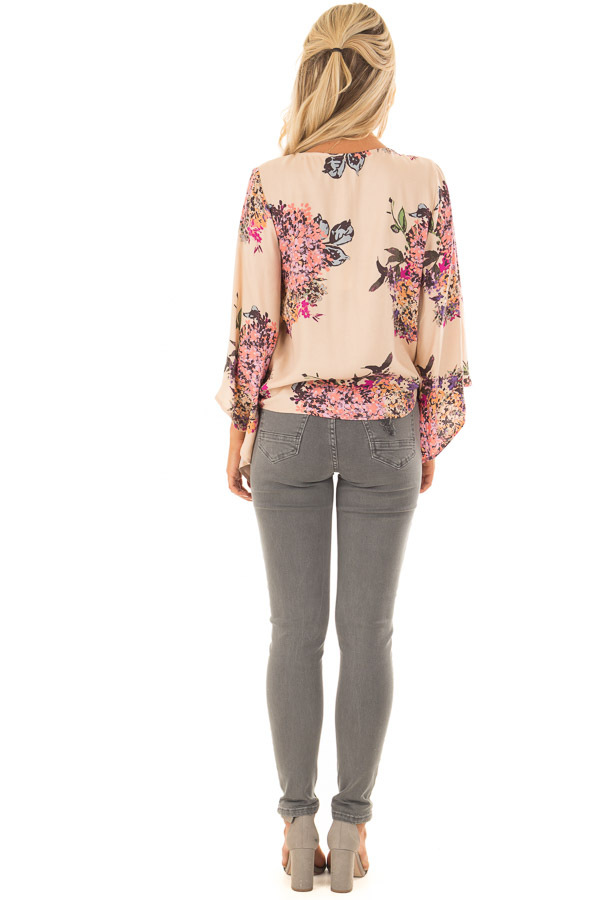 Faded Peach Floral Top with Hem Tie and Angled Bell Sleeves back full body