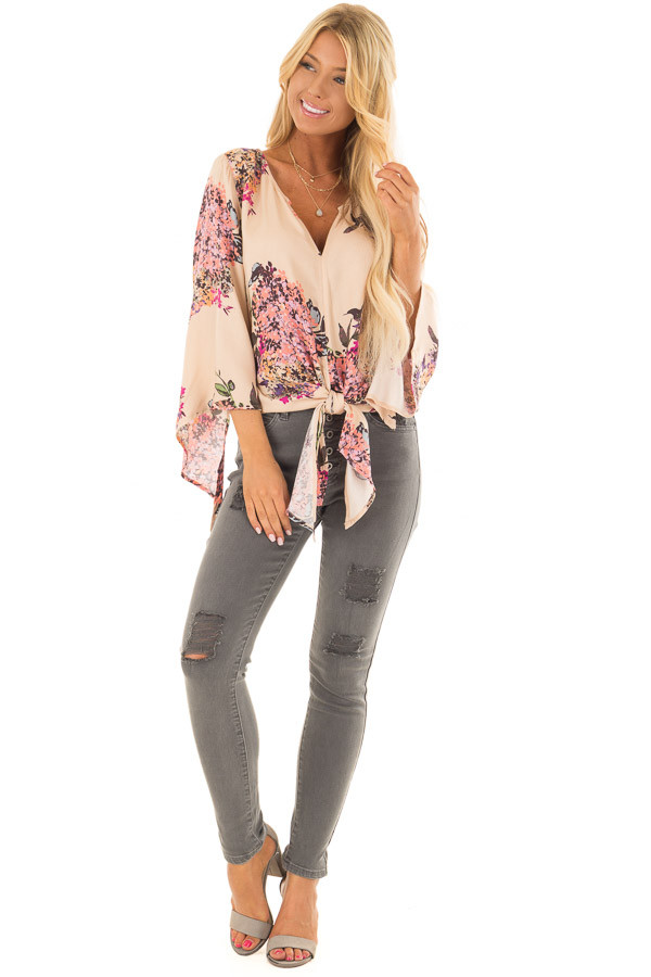Faded Peach Floral Top with Hem Tie and Angled Bell Sleeves front full body
