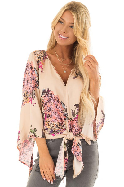 Faded Peach Floral Top with Hem Tie and Angled Bell Sleeves front closeup