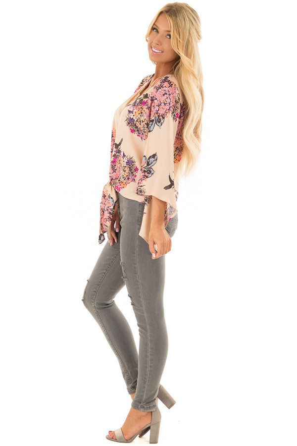Faded Peach Floral Top with Hem Tie and Angled Bell Sleeves side full body