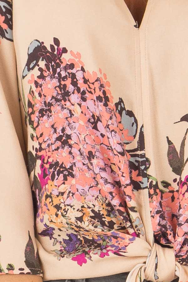 Faded Peach Floral Top with Hem Tie and Angled Bell Sleeves front detail