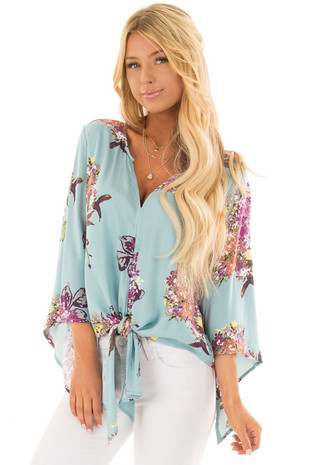 Seafoam Blue Floral Top with Hem Tie and Angled Bell Sleeves front closeup