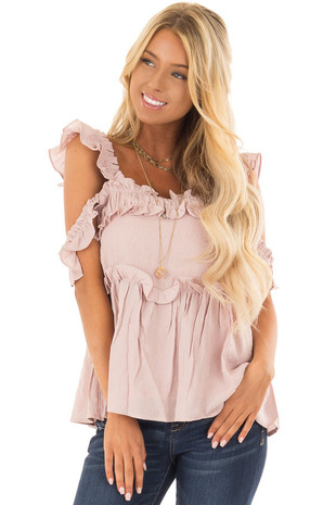 Mauve Ruffle Cold Shoulder Top front closeup