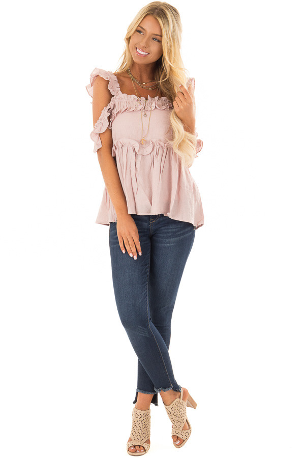 Mauve Ruffle Cold Shoulder Top front full body