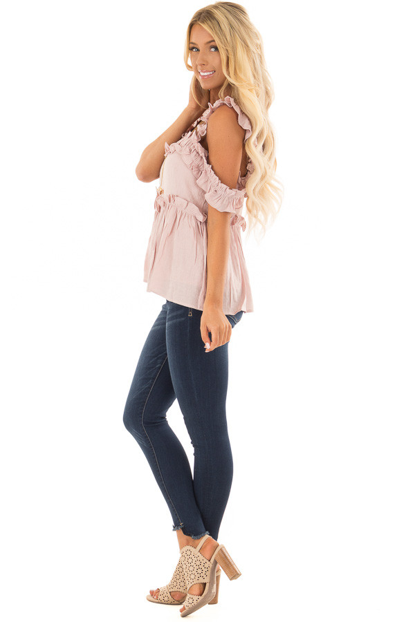 Mauve Ruffle Cold Shoulder Top side full body