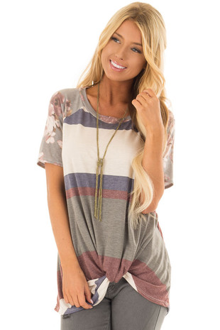 Multicolor Striped Tee Shirt with Floral Raglan Sleeves front closeup
