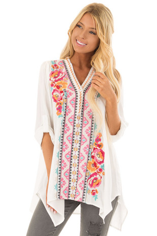 White Embroidered Tunic Top with Roll Up Sleeves front closeup