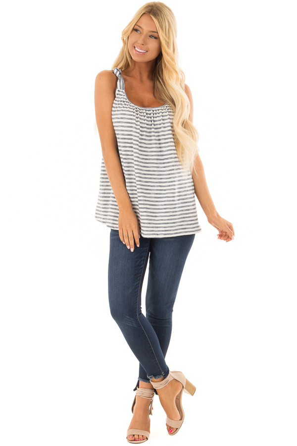 Navy Striped Knot Strap Tank Top front full body