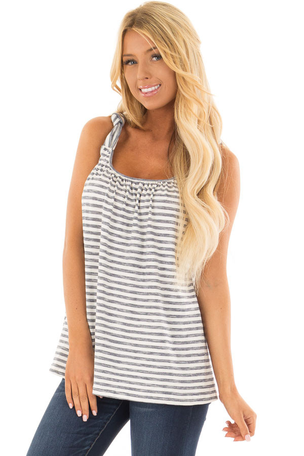Navy Striped Knot Strap Tank Top front closeup