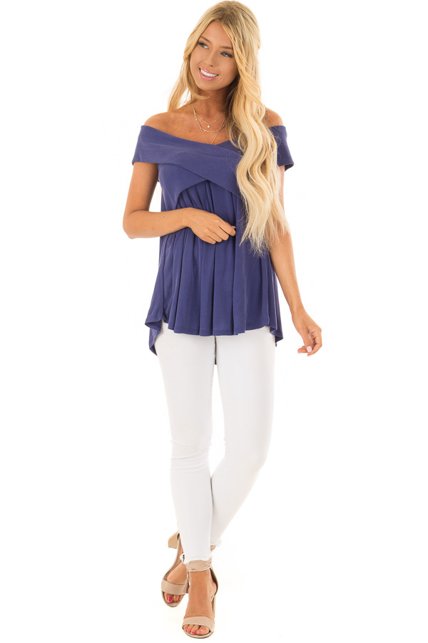 Navy Off the Shoulder Ribbed Knit Crossover Top front full body