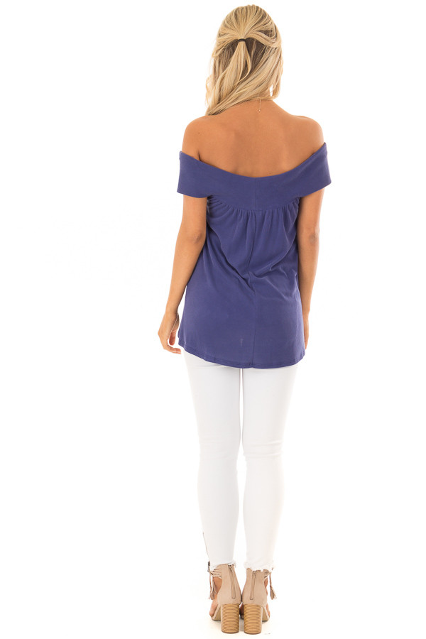 Navy Off the Shoulder Ribbed Knit Crossover Top back full body