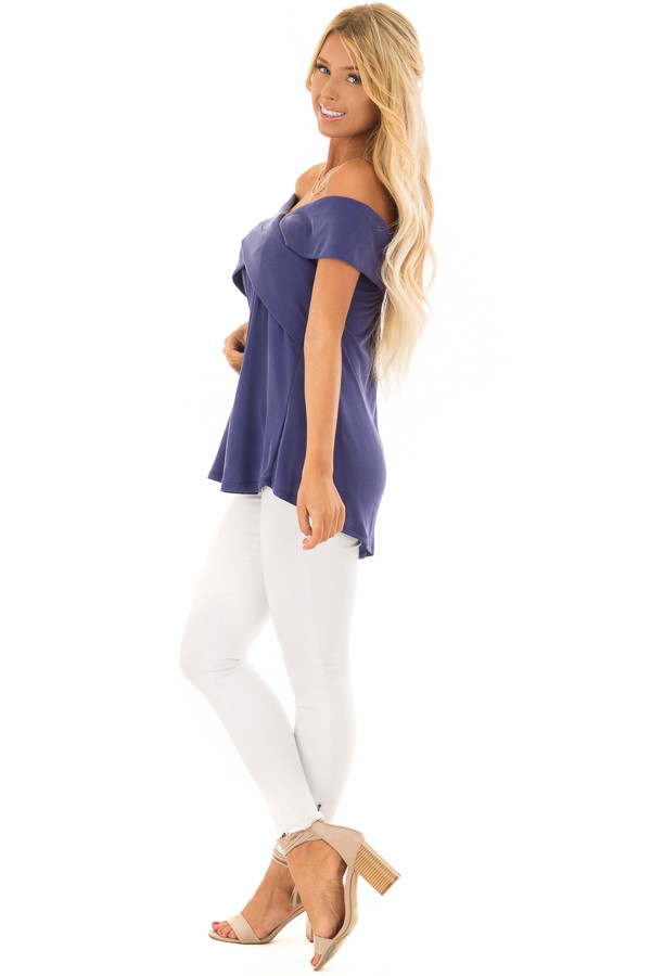 Navy Off the Shoulder Ribbed Knit Crossover Top side full body