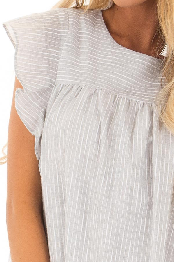 Grey Striped Babydoll Dress with Zipper Back front detail