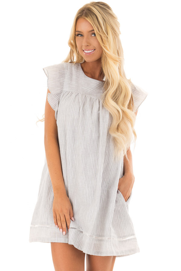 Grey Striped Babydoll Dress with Zipper Back front closeup