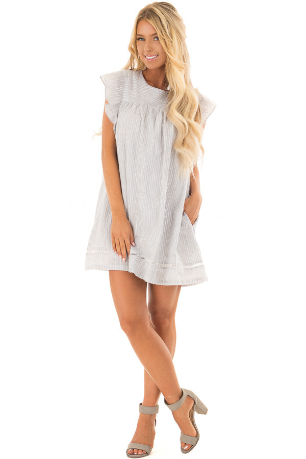 Grey Striped Babydoll Dress with Zipper Back front full body