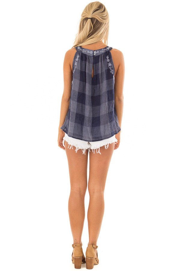 Navy Checkered Embroidery Halter Top back full body