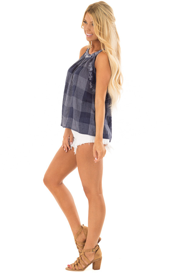 Navy Checkered Embroidery Halter Top side full body