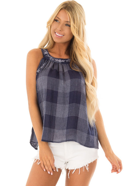 Navy Checkered Embroidery Halter Top front closeup
