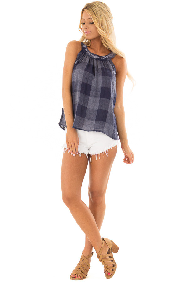 Navy Checkered Embroidery Halter Top front full body