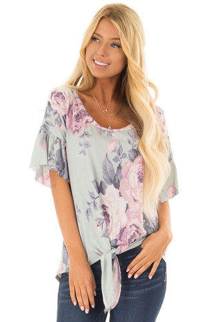 Sky Blue Floral Print Top with Front Tie Detail front closeup