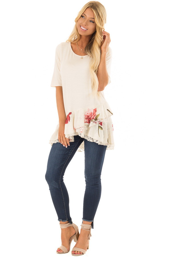 Cream Top with Floral and Lace Layered Ruffle Hemline front full body