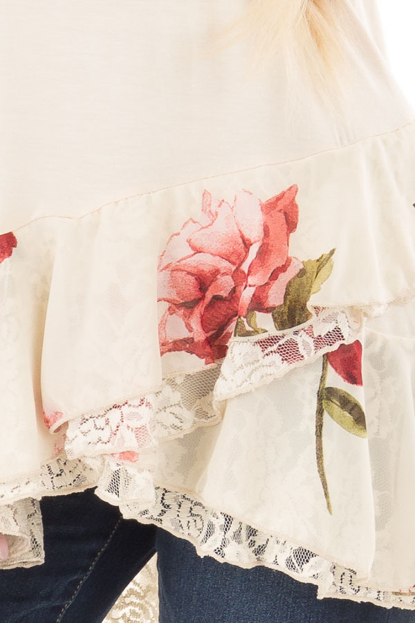 Cream Top with Floral and Lace Layered Ruffle Hemline front detail