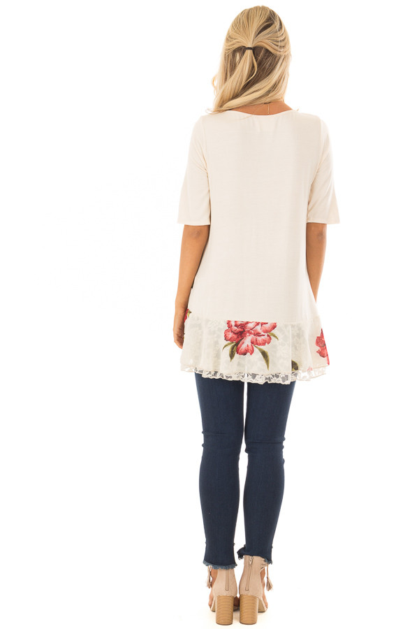 Cream Top with Floral and Lace Layered Ruffle Hemline back full body