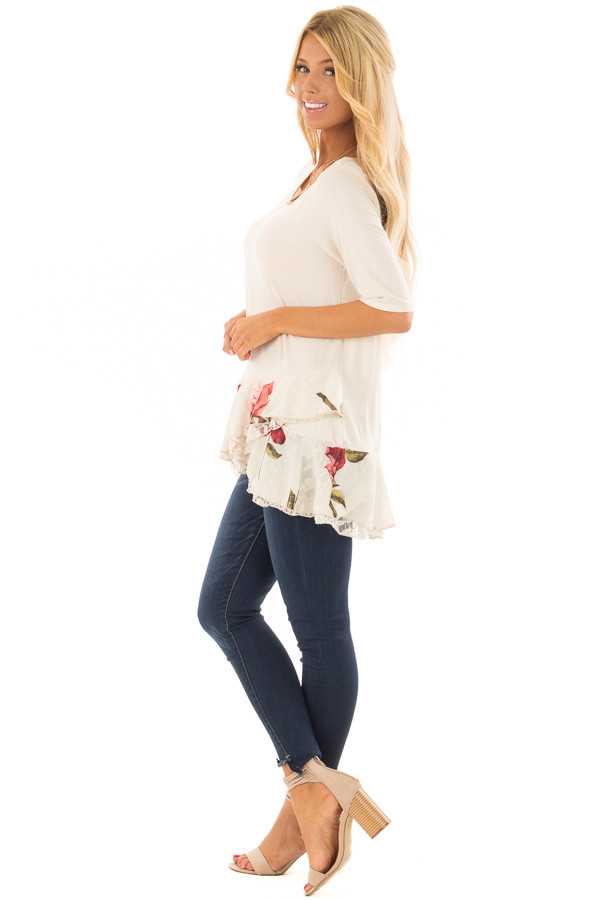 Cream Top with Floral and Lace Layered Ruffle Hemline side full body