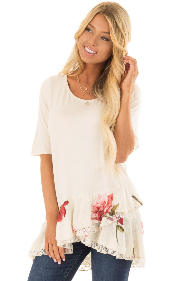 Cream Top with Floral and Lace Layered Ruffle Hemline front closeup