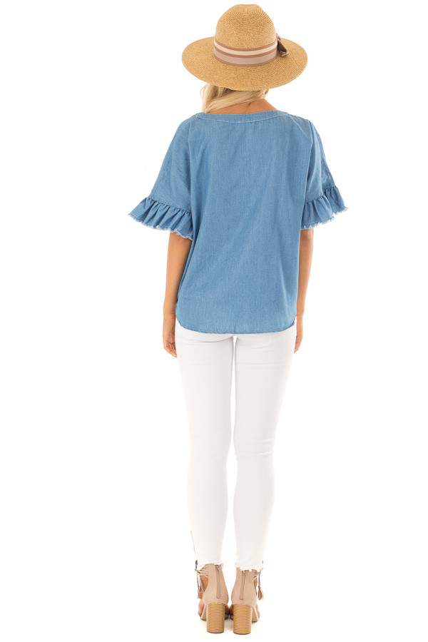 Denim Blue Button Up Ruffle Sleeve Top with Self Tie Bottom back full body