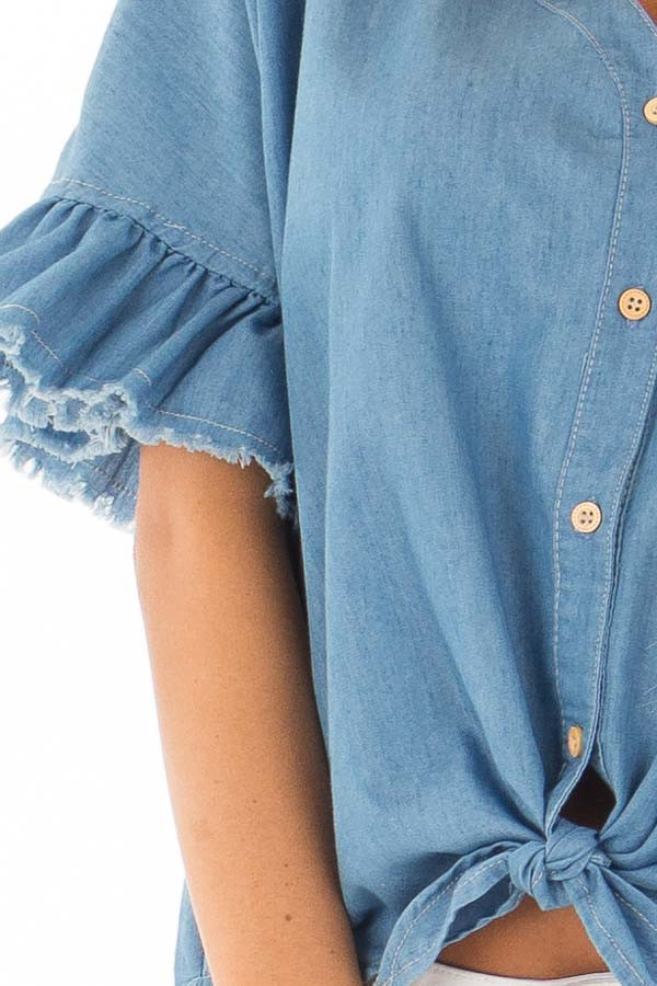 Denim Blue Button Up Ruffle Sleeve Top with Self Tie Bottom front detail