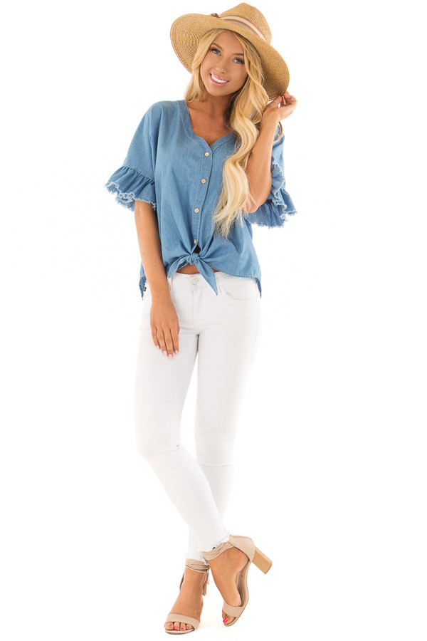 Denim Blue Button Up Ruffle Sleeve Top with Self Tie Bottom front full body