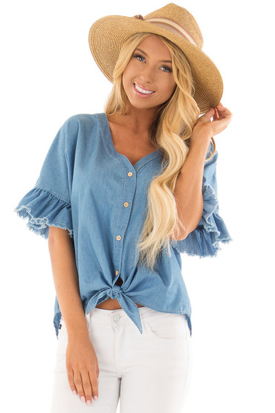 Denim Blue Button Up Ruffle Sleeve Top with Self Tie Bottom front closeup