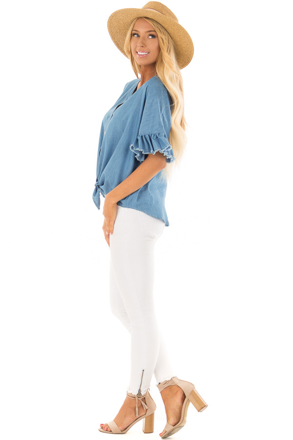 Denim Blue Button Up Ruffle Sleeve Top with Self Tie Bottom side full body