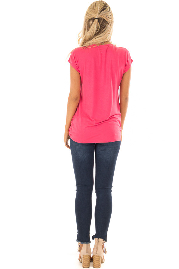 Punch Short Sleeve Crossover Top with Twist Detail back full body