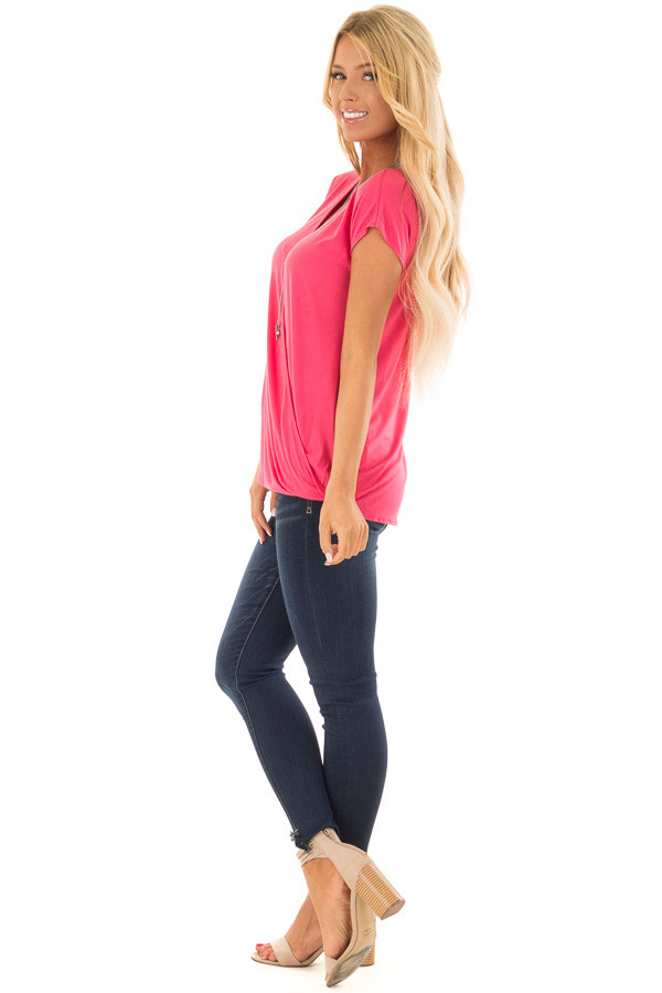 Punch Short Sleeve Crossover Top with Twist Detail side full body