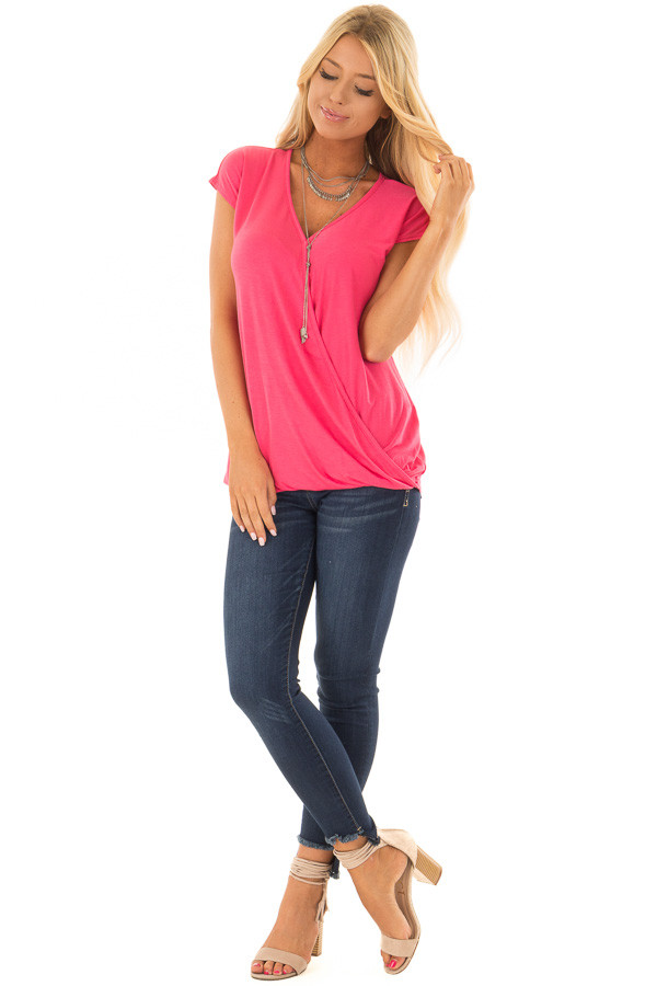 Punch Short Sleeve Crossover Top with Twist Detail front full body