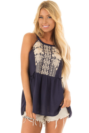 Navy Babydoll Halter Top with Tan Embroidery Detail front closeup